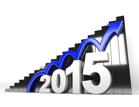 year increase: 3d render illustration - blue arrow jumps on 2015 object Stock Photo