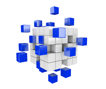 drifting: 3D render illustration -  blue and white cubes drifting apart Stock Photo