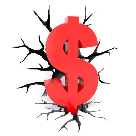 cracks: 3d render illustration - red dollar symbol surrounded by cracks