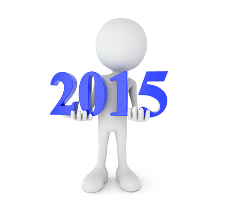 yearbook: 3d render illustration - cartoon person holds blue 2015 text