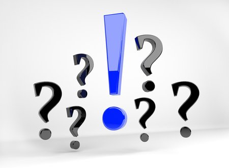 alarmed: 3D render illustration - blue exclamation mark surrounded by question marks