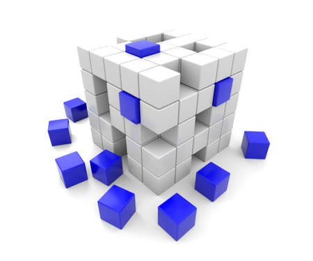 apart: 3D render illustration -  blue and white cubes falling apart Stock Photo