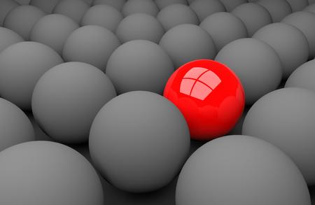 3d render illustration - red sphere stands out Stok Fotoğraf