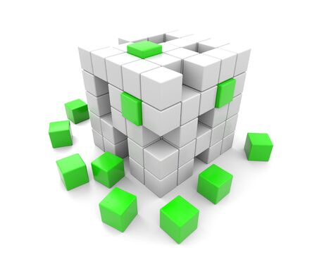 falling apart: 3D render illustration -  green and white cubes falling apart