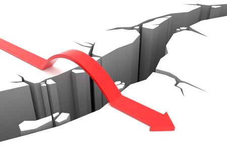 overcome a challenge: 3D render illustration - Red Arrow jumps over rift