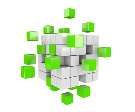 building structure: 3D render illustration -  green and white cubes falling apart
