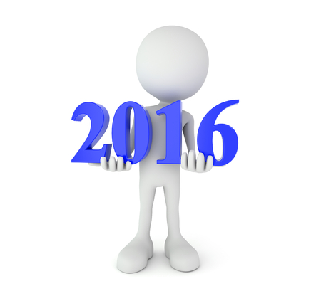 turn of the year: 3d render illustration - cartoon person holds 2016 text Stock Photo