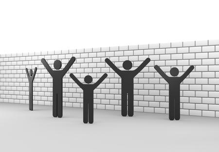 stickmen: 3D render illustration - Stickmen in front of a brickwall