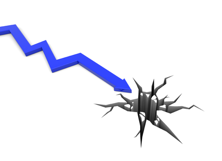 stock price losses: 3D render illustration - blue arrow moves to a hole
