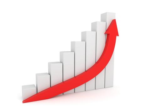 3D render illustration - Red Arrow Growth Diagram