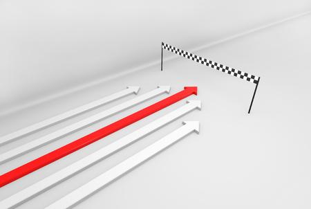 wins: 3D render illustration, Red arrow wins the race