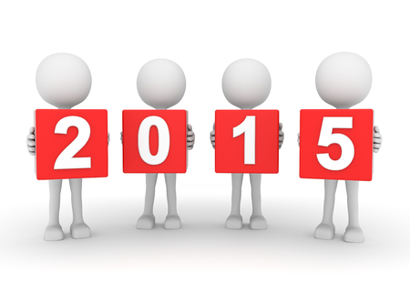 turns of the year: 3D render illustration - White people presenting year 2015