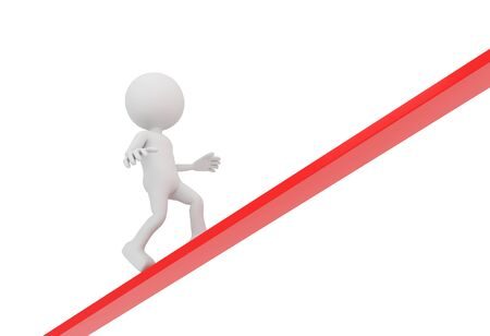 upward struggle: 3D render illustration - white human walks upwards on red line