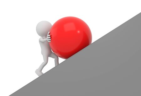 red sphere: 3D render illustration - White 3D human pushes red sphere uphill Stock Photo