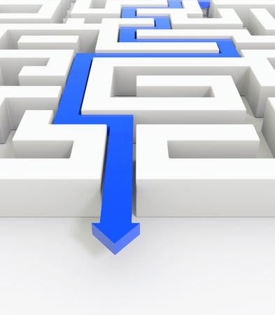 3D render illustration - Blue arrow leads through a maze