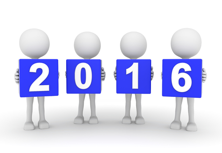 sylvester: 3D render illustration - White people presenting year 2016 Stock Photo
