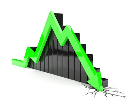 green arrow: 3D render illustration, green arrow crashes through the ground Stock Photo