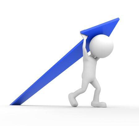 blue arrow: 3D render illustration - White human lifting a blue arrow