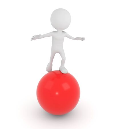 red sphere: 3D render illustration - White 3d human on a red sphere Stock Photo
