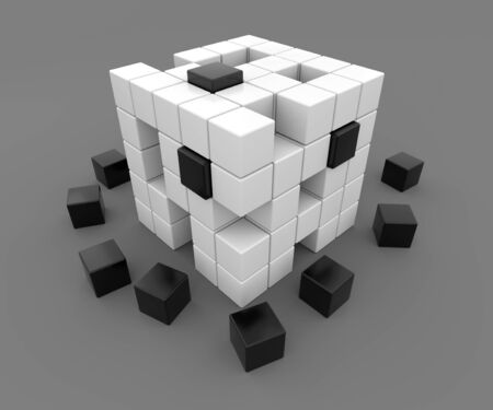 falling cubes: 3D render illustration -  black and white cubes falling apart