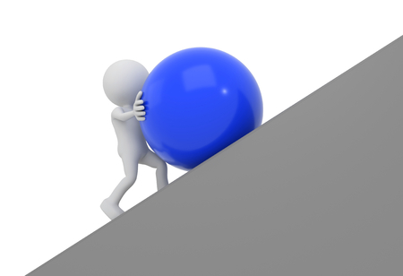 uphill: 3D render illustration - White 3D human pushes blue sphere uphill Stock Photo