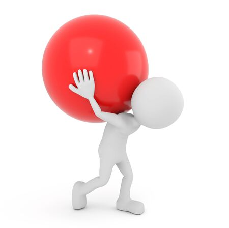 grabbing back: 3D render illustration - White 3D human carries red sphere on back Stock Photo