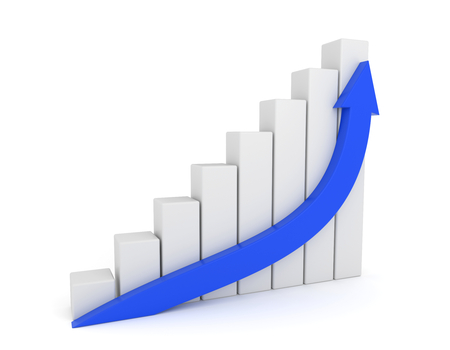 blue arrow: 3D render illustration - Blue Arrow Growth Diagram