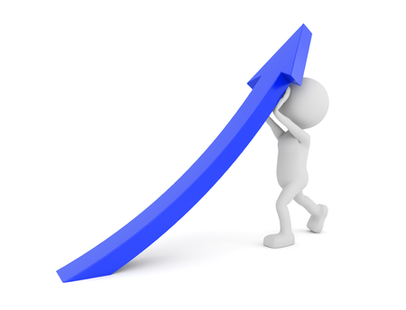 lift and carry: 3D render illustration - White human lifting a blue arrow