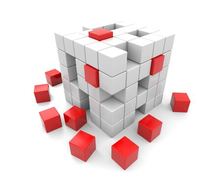 abstract cubes: 3D render illustration -  red and white cubes falling apart