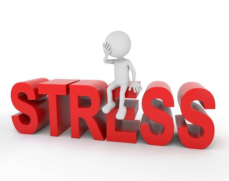 financial burden: 3D render illustration - White 3d human sitting on stress text