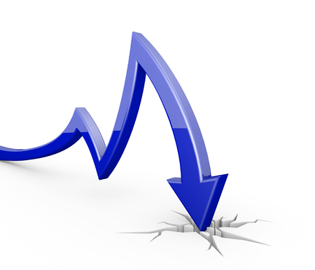 stock price losses: 3D render illustration - Blue arrow graph moves down Stock Photo