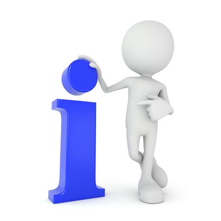 люди: 3D визуализации иллюстрации - белый 3D человека, указывая на информационном символе