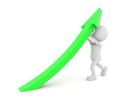 green arrow: 3D render illustration - White human lifting a green arrow Stock Photo