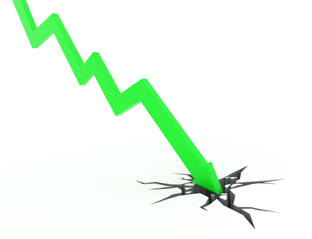 stock price losses: 3D render illustration - Green arrow graph moves down Stock Photo