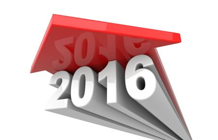 3d render illustration - Year 2016 arrow growth