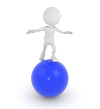 equalize: 3D render illustration - White 3d human on a blue sphere