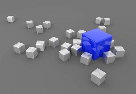 3d render illustration - blue cube stands out
