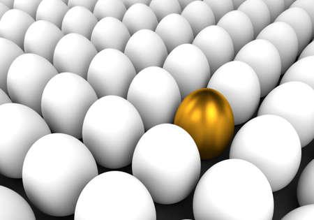 3d render illustration - golden easter egg stands out