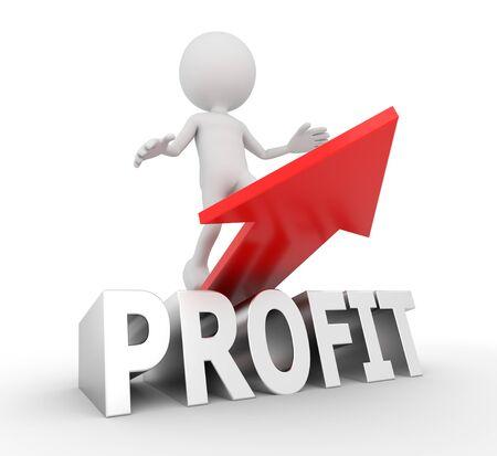 upturn: 3D render illustration - White human profit arrow Stock Photo