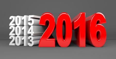 newyears: 3D render illustration - Red Year 2016 text Stock Photo