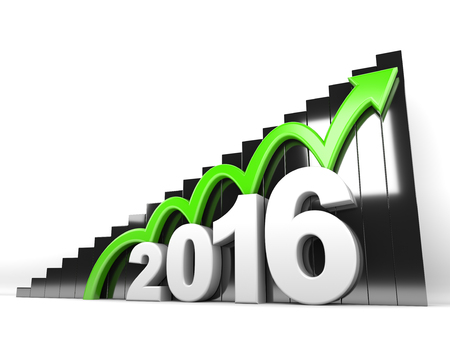 year increase: 3d render illustration - Year 2016 arrow moves up