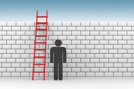 3D render illustration - Black Stickman besides a red ladder Stok Fotoğraf