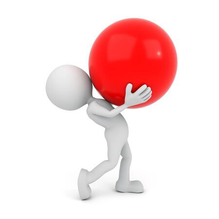 red sphere: 3D render illustration - White 3D human carries red sphere
