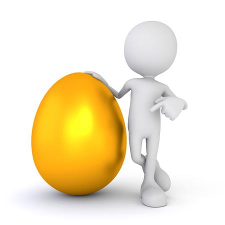 3D render illustration - White human points at golden egg
