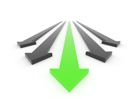 3D render illustration, green arrow leads the race