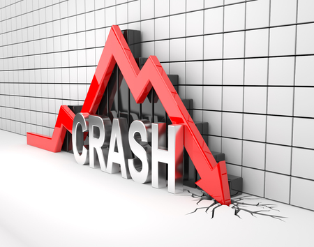 3D render illustration - red arrow crashes to the ground
