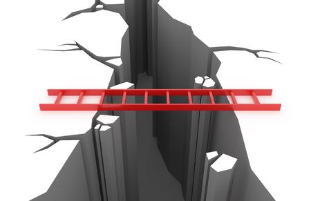 3D render illustration - Red ladder over a pit in the ground Stok Fotoğraf