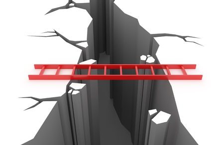 3D render illustration - Red ladder over a pit in the ground Stock Photo