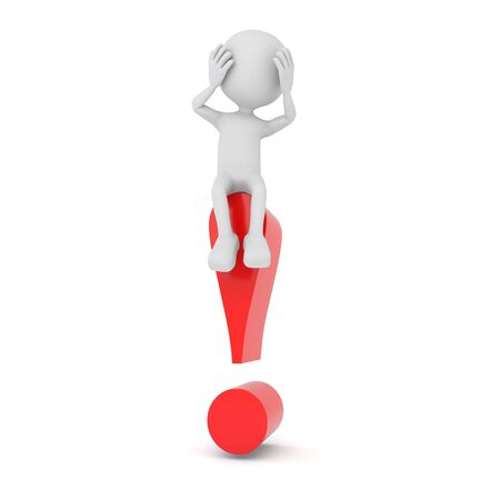 3d render illustration - White 3d human sitting on a red exclamation mark