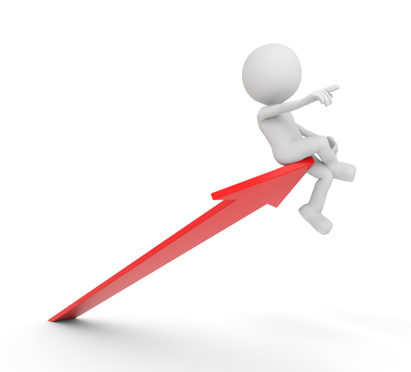 3D render illustration - White human guiding a red arrow